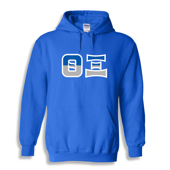 Theta Xi Two Toned Lettered Hooded Sweatshirt