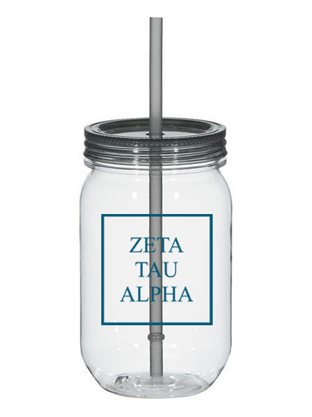 Zeta Tau Alpha Box Stacked 25oz Mason Jar