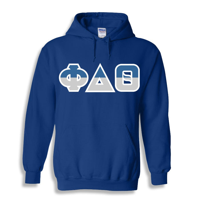 Phi Delta Theta Two Toned Lettered Hooded Sweatshirt