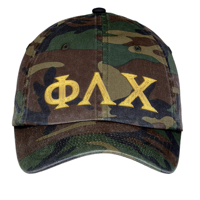 Phi Lambda Chi Letters Embroidered Camouflage Hat