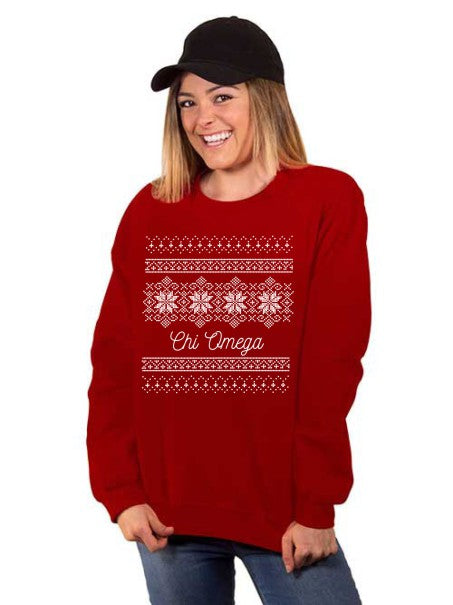 Chi Omega Holiday Snowflake Crew Neck Sweatshirt