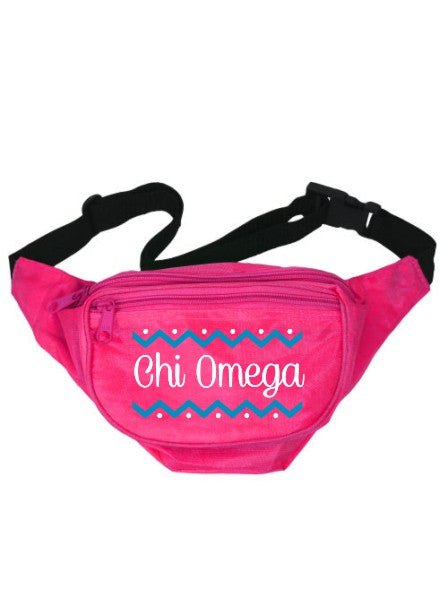 Chi Omega Dotted Chevron Fanny Pack