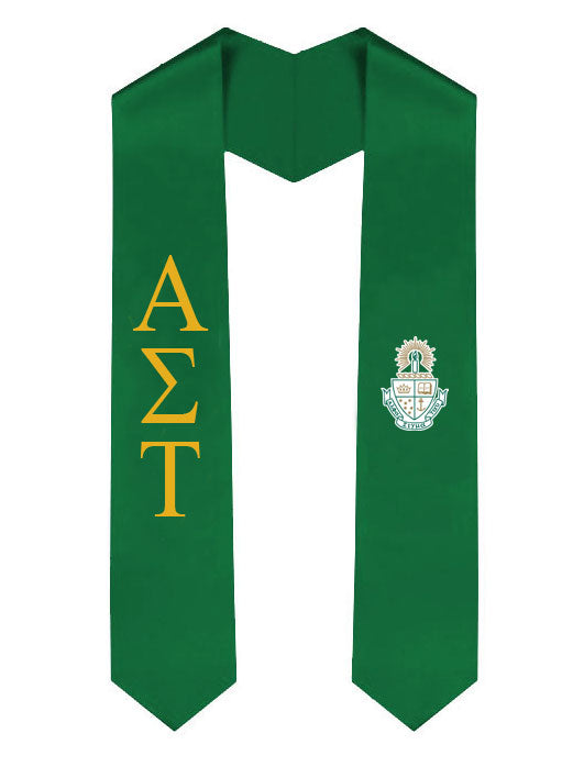 Alpha Sigma Tau Lettered Graduation Sash Stole with Crest