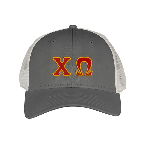 Chi Omega Greek Trucker Cap