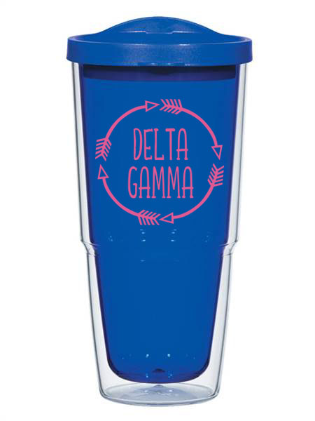 Delta Gamma Circle Arrows 24 oz Tumbler with Lid