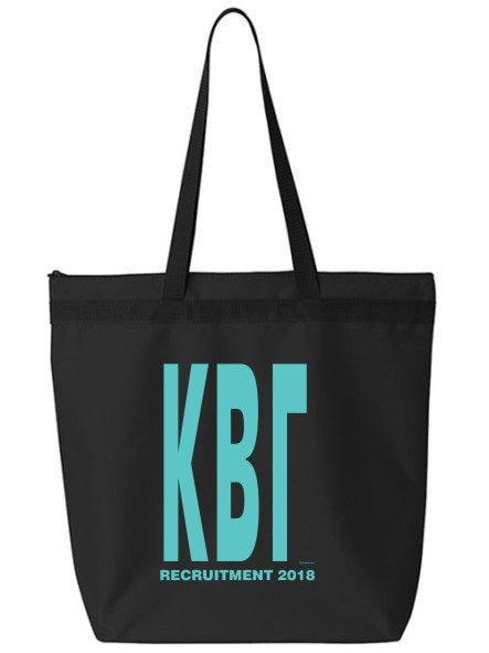 Kappa Beta Gamma Impact Letters Zippered Poly Tote
