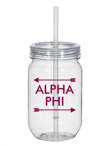 Alpha Phi Arrow Top Bottom 25oz Mason Jar