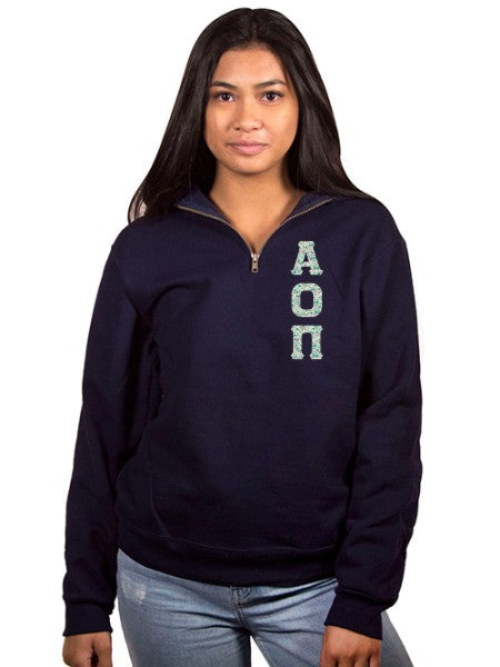 Alpha Omicron Pi Unisex Quarter-Zip with Sewn-On Letters