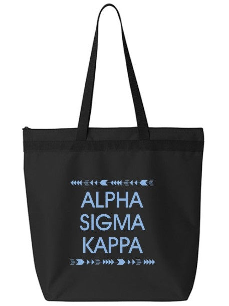 Alpha Sigma Kappa Arrow Top Bottom Tote Bag