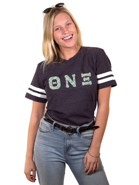 Theta Nu Xi Unisex Jersey Football Tee with Sewn-On Letters