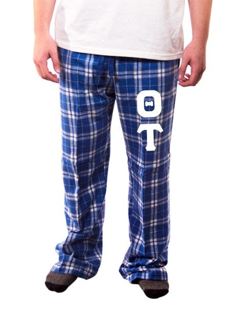 Theta Tau Pajama Pants with Sewn-On Letters