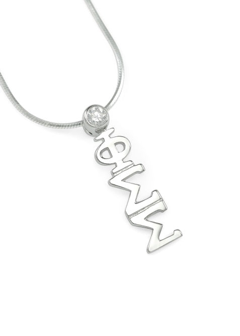 Phi Sigma Sigma Sterling Silver Lavaliere Pendant with Clear Swarovski Crystal