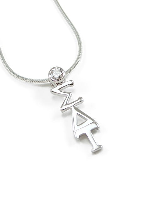 Sigma Delta Tau Sterling Silver Lavaliere Pendant with Clear Swarovski Crystal