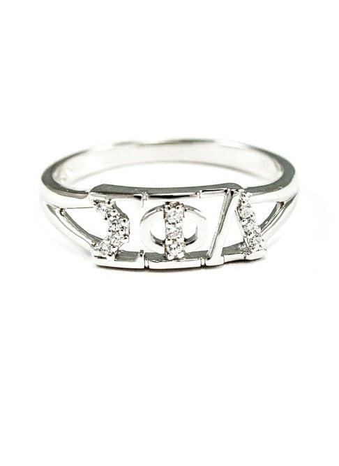 Sigma Phi Lambda Sterling Silver Ring with Lab Created Clear Diamond