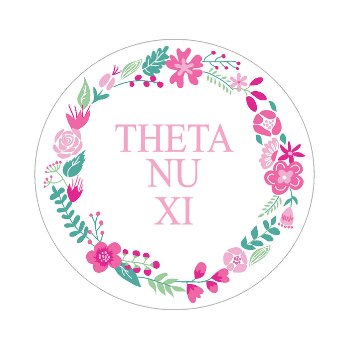 Theta Nu Xi Floral Wreath Sticker