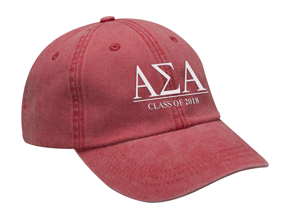 Alpha Sigma Alpha Embroidered Hat with Custom Text