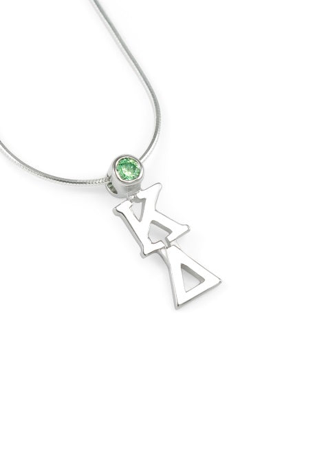 Kappa Delta Sterling Silver Lavaliere Pendant with Swarovski Crystal
