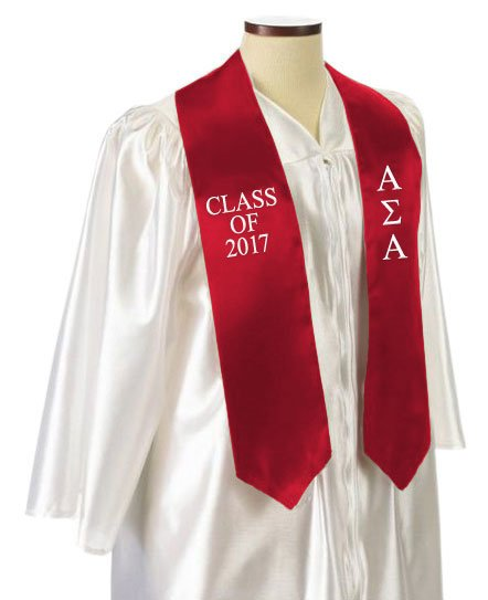 Alpha Sigma Alpha Classic Colors Embroidered Grad Stole