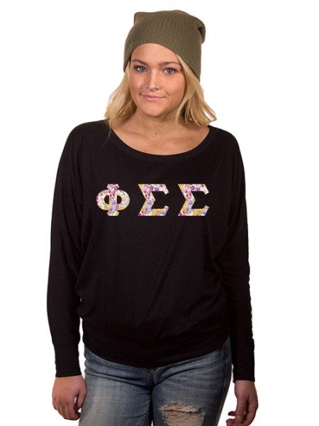 Phi Sigma Sigma Off the Shoulder Flowy Long Sleeve Shirt with Letters