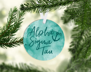Alpha Sigma Tau Round Acrylic Watercolor Ornament
