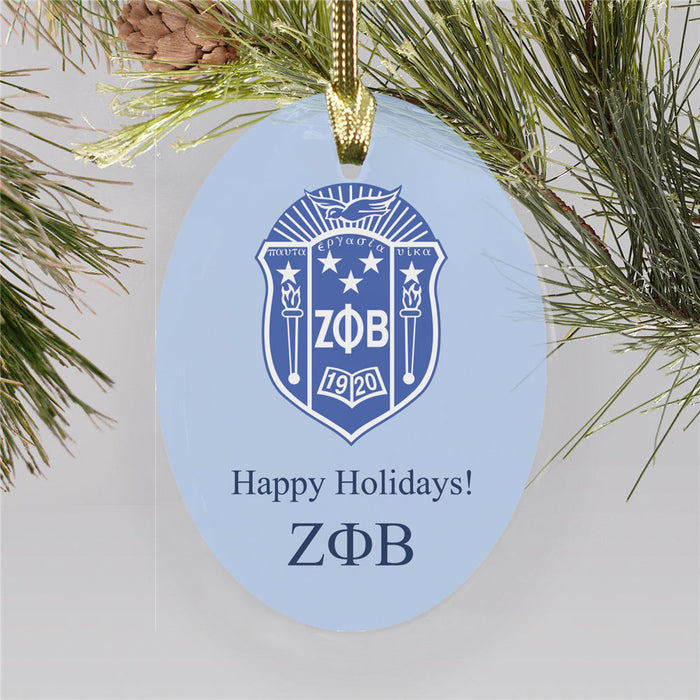 Zeta Phi Beta Color Crest Ornament