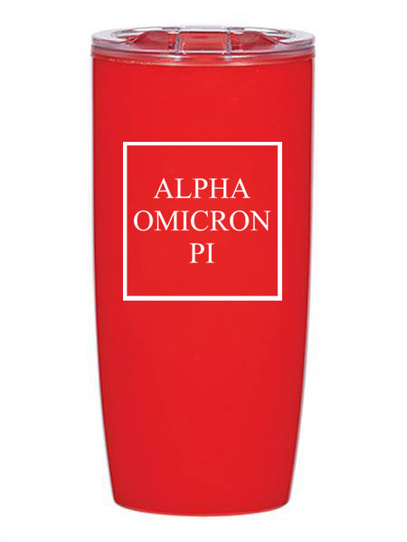 Alpha Omicron Pi Box Stacked 19 oz Everest Tumbler