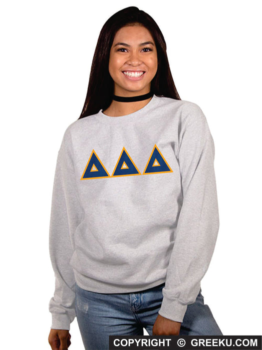 Delta Delta Delta Classic Colors Sewn-On Letter Crewneck