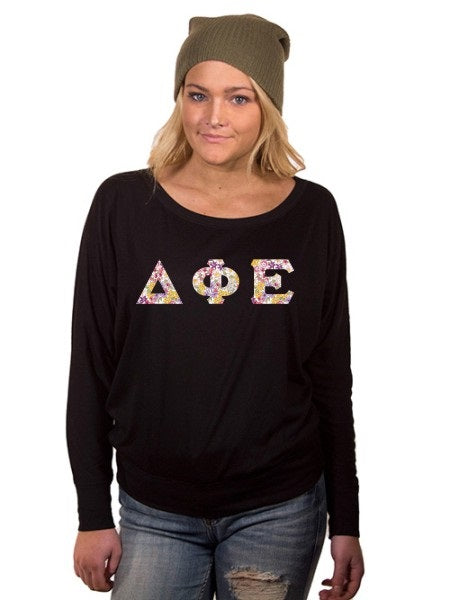 Delta Phi Epsilon Off the Shoulder Flowy Long Sleeve Shirt with Letters