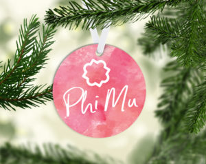 Phi Mu Round Acrylic Watercolor Ornament