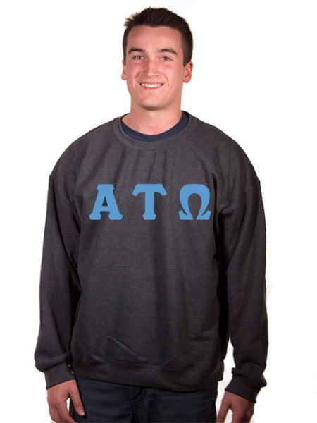 Alpha Tau Omega Crewneck Sweatshirt with Sewn-On Letters