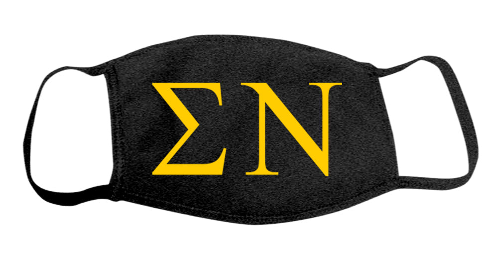 Sigma Nu Face Mask With Big Greek Letters