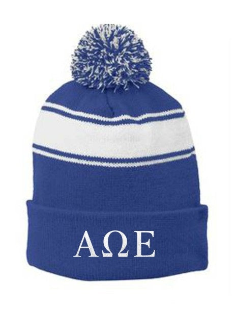 Alpha Omega Epsilon Embroidered Pom Pom Beanie