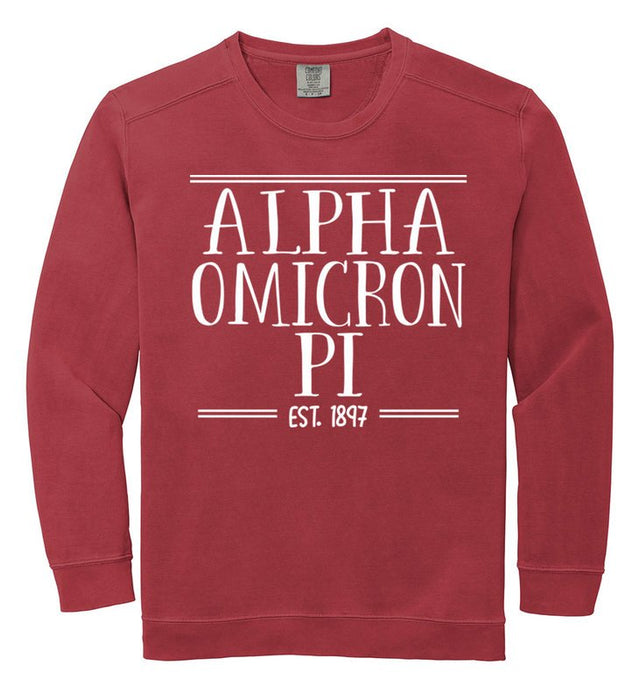 Alpha Omicron Pi Comfort Colors Custom Sorority Sweatshirt