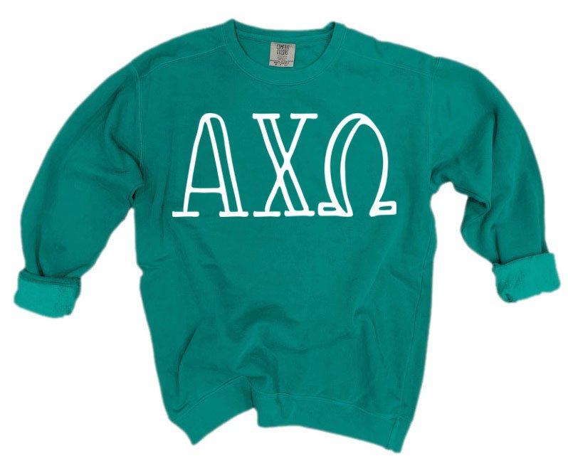 Alpha Chi Omega Comfort Colors Greek Letter Sorority Crewneck Sweatshirt