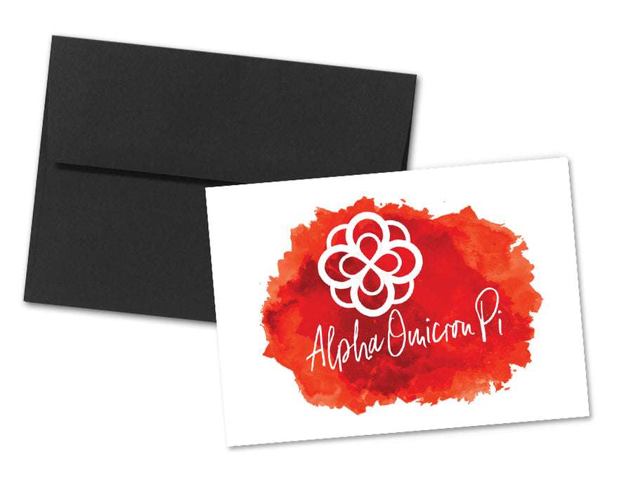 Alpha Omicron Pi Sorority Watercolor Notecards (6)