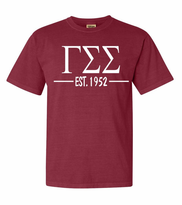 Gamma Sigma Sigma Comfort Colors Established Sorority T-Shirt
