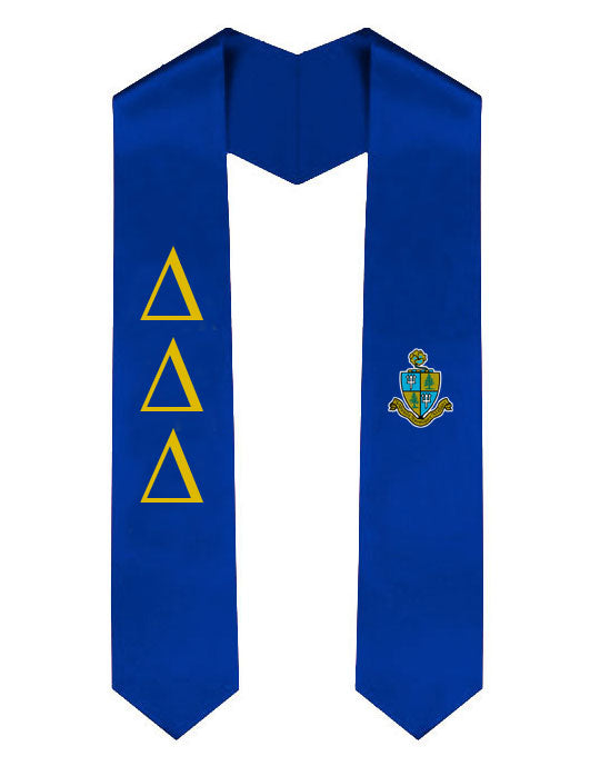 Delta Delta Delta Lettered Graduation Sash Stole with Crest