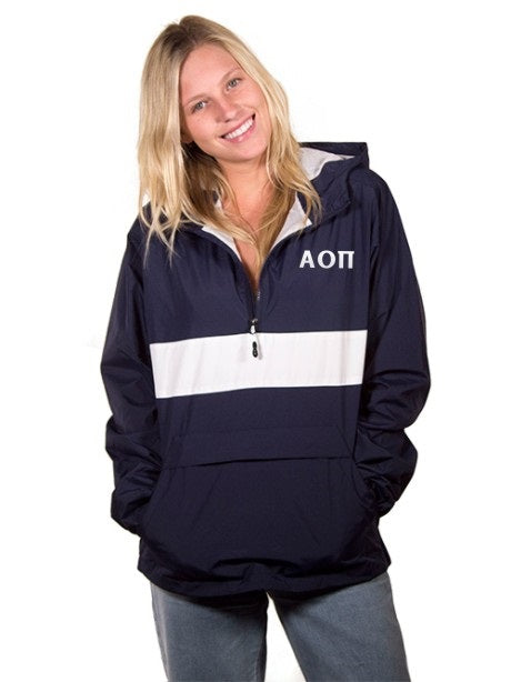 Alpha Omicron Pi Embroidered Zipped Pocket Anorak