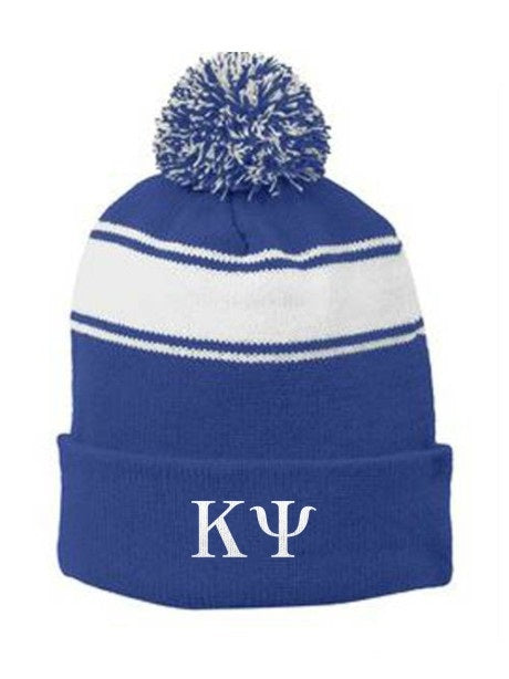 Kappa Psi Embroidered Pom Pom Beanie
