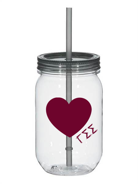 Gamma Sigma Sigma 25oz Scribbled Heart Mason Jar