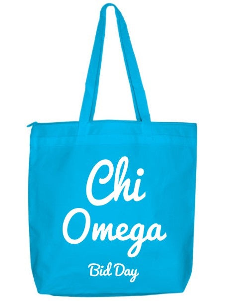 Chi Omega Zippered Poly Tote