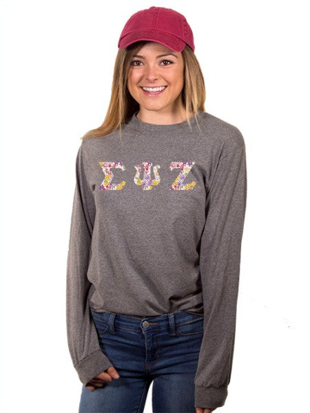 Sigma Psi Zeta Long Sleeve T-shirt with Sewn-On Letters