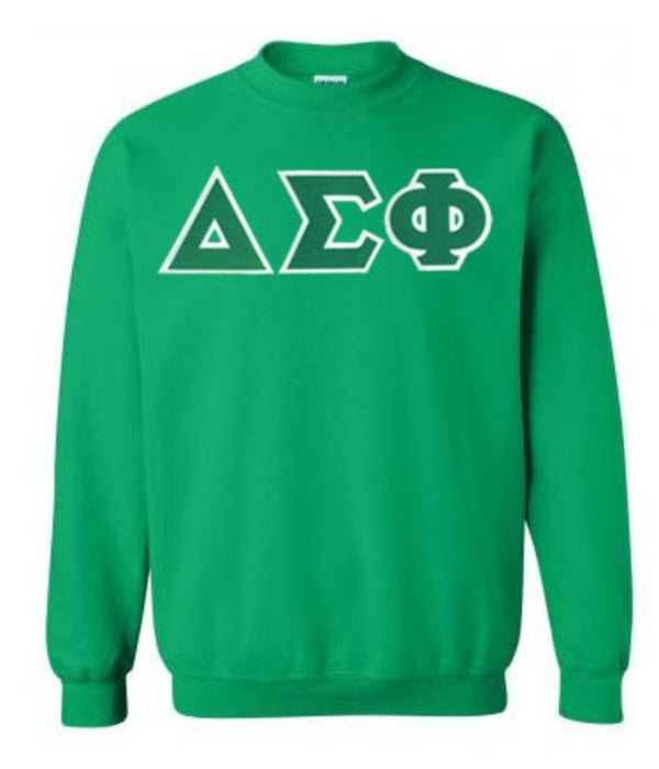 Delta Sigma Phi Crewneck Sweatshirt with Sewn-On Letters
