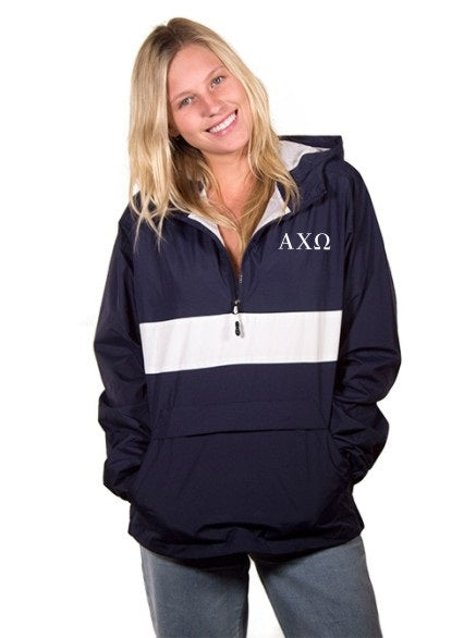 Alpha Chi Omega Embroidered Zipped Pocket Anorak