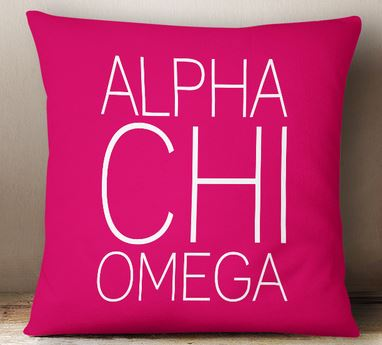 Alpha Chi Omega Simple Text Throw Pillow