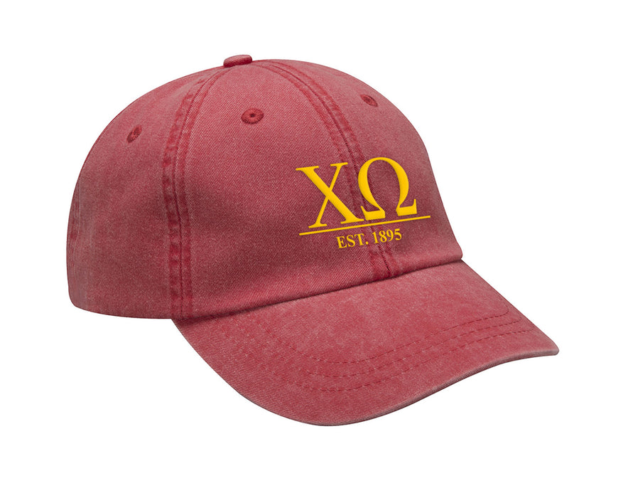 Chi Omega Letters Year Embroidered Hat