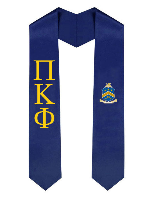 Pi Kappa Phi Lettered Graduation Sash Stole with Crest