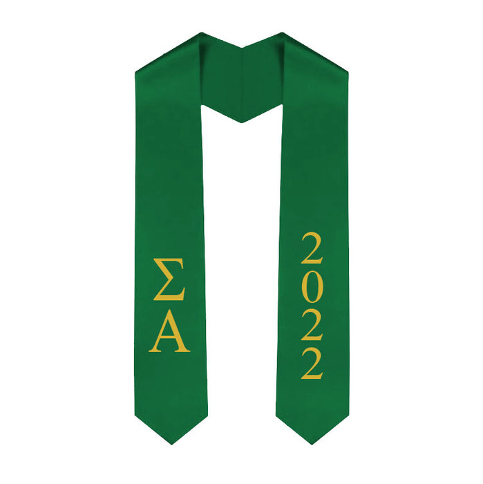 Sigma Alpha Vertical Grad Stole with Letters & Year