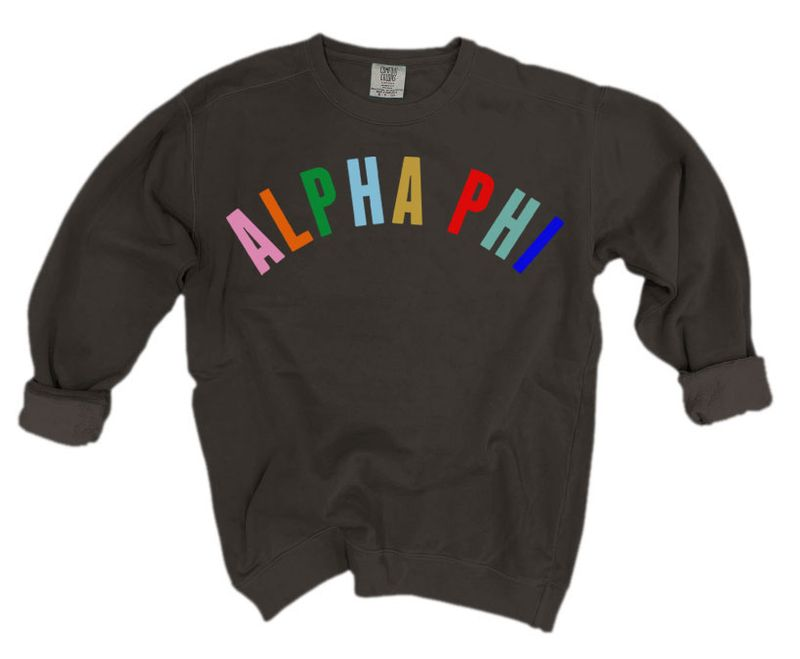 Alpha Phi Comfort Colors Over the Rainbow Sorority Sweatshirt