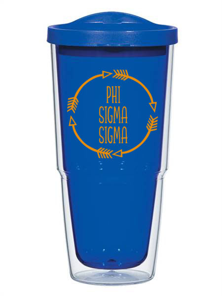 Phi Sigma Sigma Circle Arrows 24 oz Tumbler with Lid